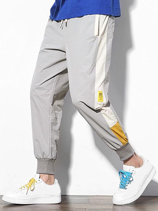 Color Block Splicing Applique Casual Jogger Pants, Light gray