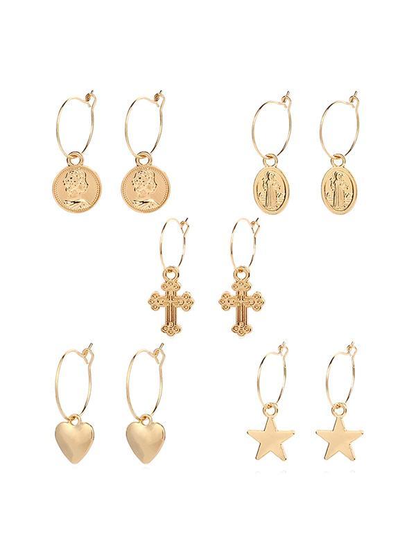 Geometric Star Heart Cross Design Metal Drop Earrings Set, Gold