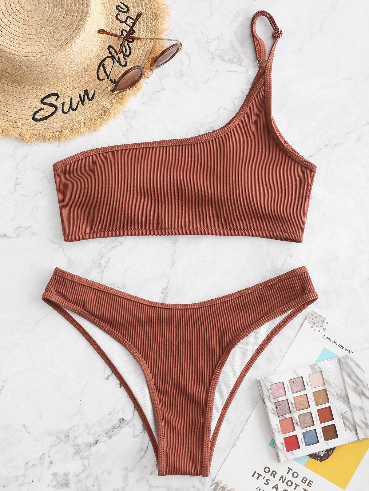 ZAFUL Textured Ribbed One Shoulder Bikini Swimsuit, Chestnut