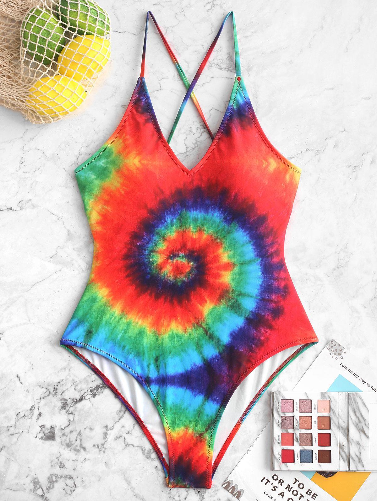 ZAFUL Rainbow Spiral Tie Dye Print One-piece Swimsuit thumbnail
