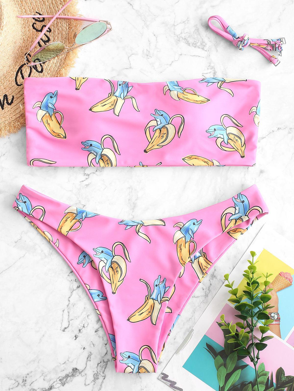 ZAFUL Dolphin Banana Print Bandeau Bikini Swimsuit thumbnail