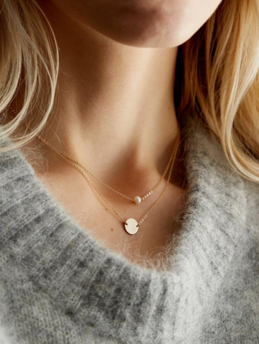 Layered Artificial Pearl Disc Chain Necklace thumbnail