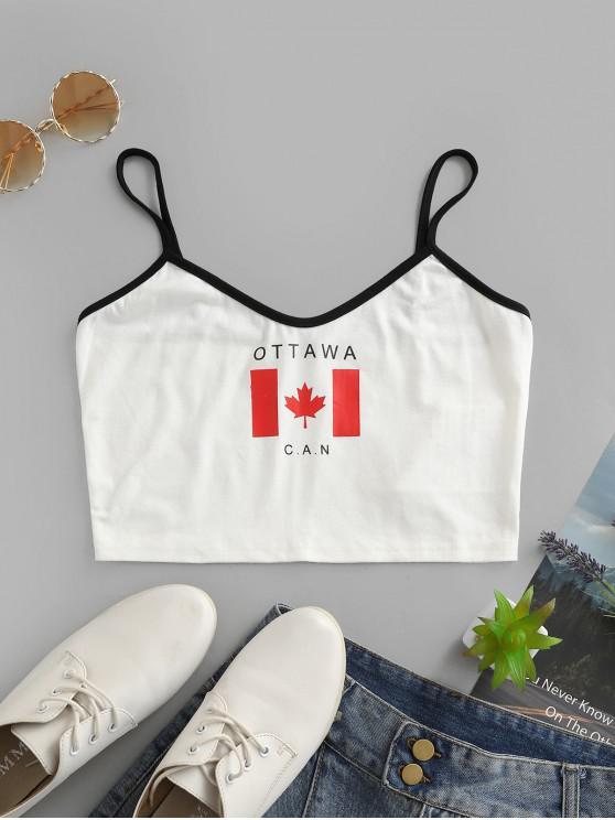 unique ZAFUL Flag of Canada Print Contrast Binding Crop Camisole - MILK WHITE M