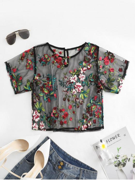 outfits ZAFUL Mesh Floral Embroidered Sheer Keyhole Tee - BLACK L