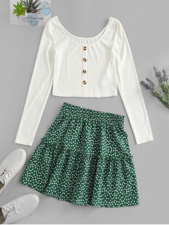 best ZAFUL Ribbed Button Embellished Ditsy Print Skirt Set - MULTI-A XL