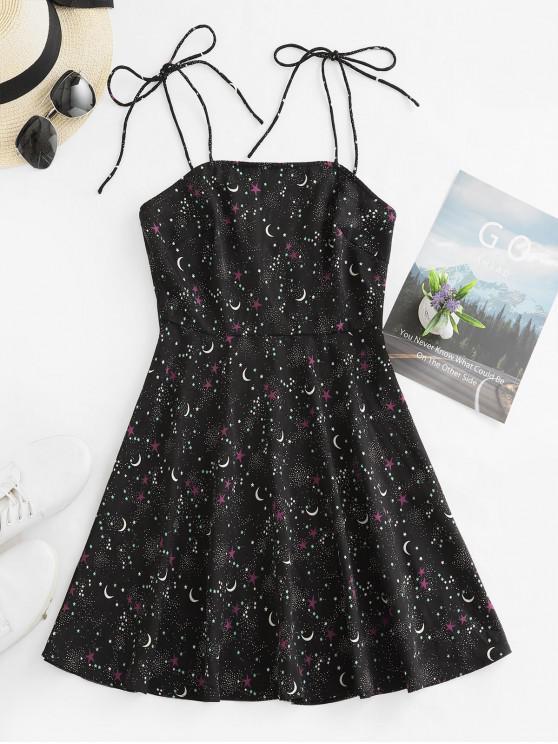fancy ZAFUL Star Moon Print Tie Shoulder Mini Dress - BLACK M