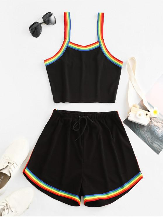 new ZAFUL Cropped High Waisted Rainbow Stripes Two Piece Set - BLACK M