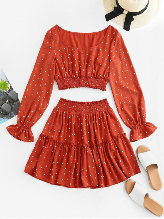 shops ZAFUL Ditsy Print Smocked Poet Sleeve Two Piece Set - CHESTNUT RED L