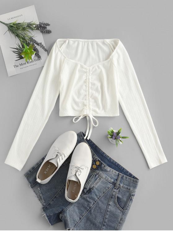 Camiseta acanalada de manga larga con cuello cariño ZAFUL - Blanco M