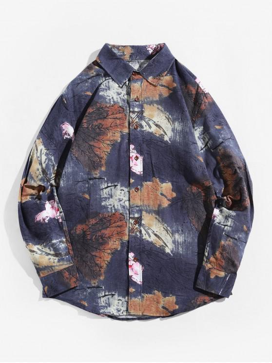 fashion Ink Painting Lotus Flower Print Long Sleeve Shirt - MULTI-B 3XL