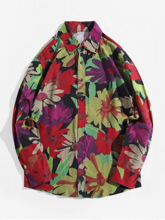 women's Flower Allover Print Long Sleeve Button Up Shirt - GREEN 2XL