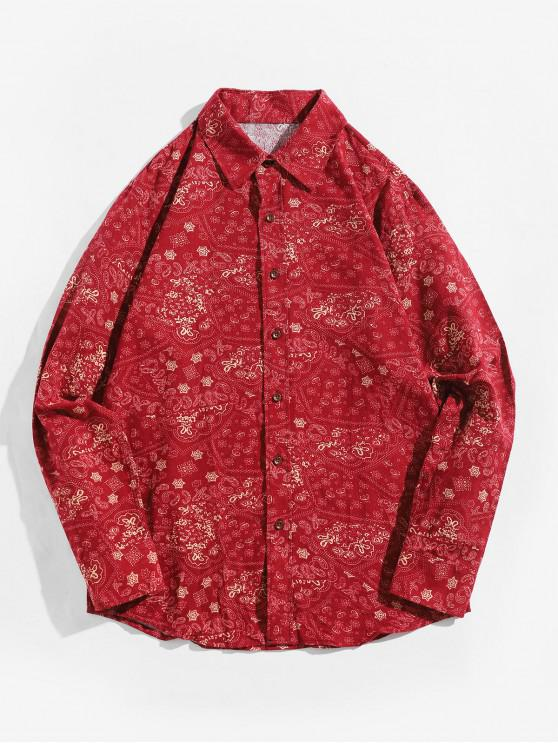 affordable Tiny Paisley Ditsy Print Long Sleeve Button Shirt - RED M