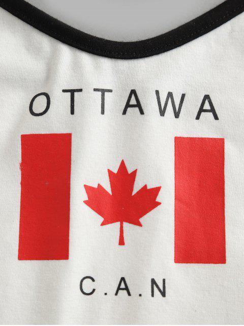 ZAFUL Camisole Courte Drapeau du Canada Imprimé Contrastée - Blanc Lait L Mobile