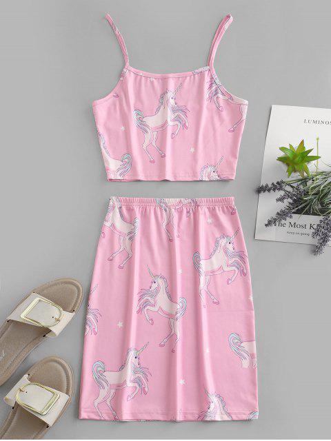 ZAFUL Robe Deux Pièces Courte Licorne Imprimé Amusant - Rose  M Mobile
