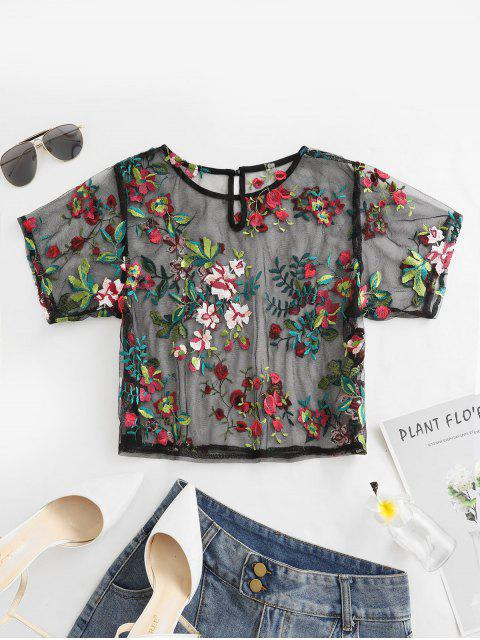 outfit ZAFUL Mesh Floral Embroidered Sheer Keyhole Tee - BLACK M Mobile