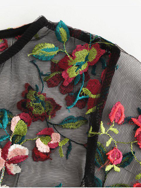 ZAFUL T-shirt Fleuri Brodé en Maille Transparente - Noir L Mobile