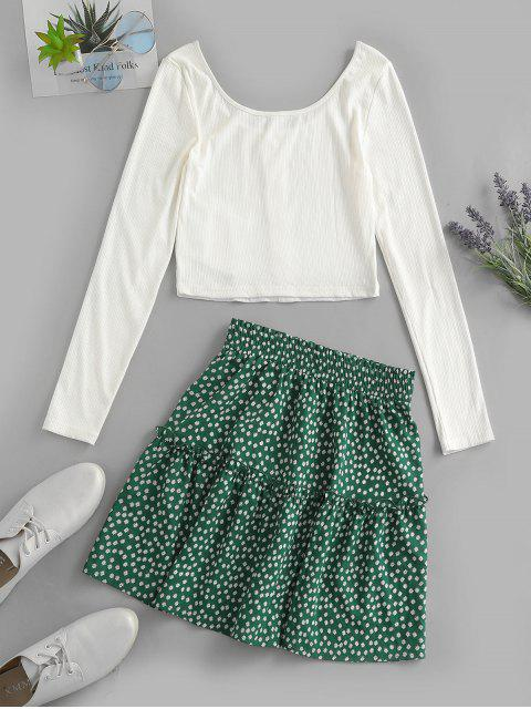 best ZAFUL Ribbed Button Embellished Ditsy Print Skirt Set - MULTI-A XL Mobile