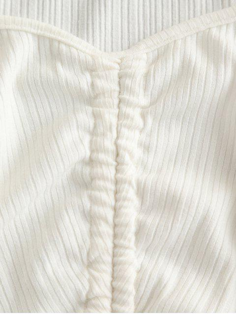 latest ZAFUL Cinched Sweetheart Neck Long Sleeve Ribbed Tee - WHITE L Mobile