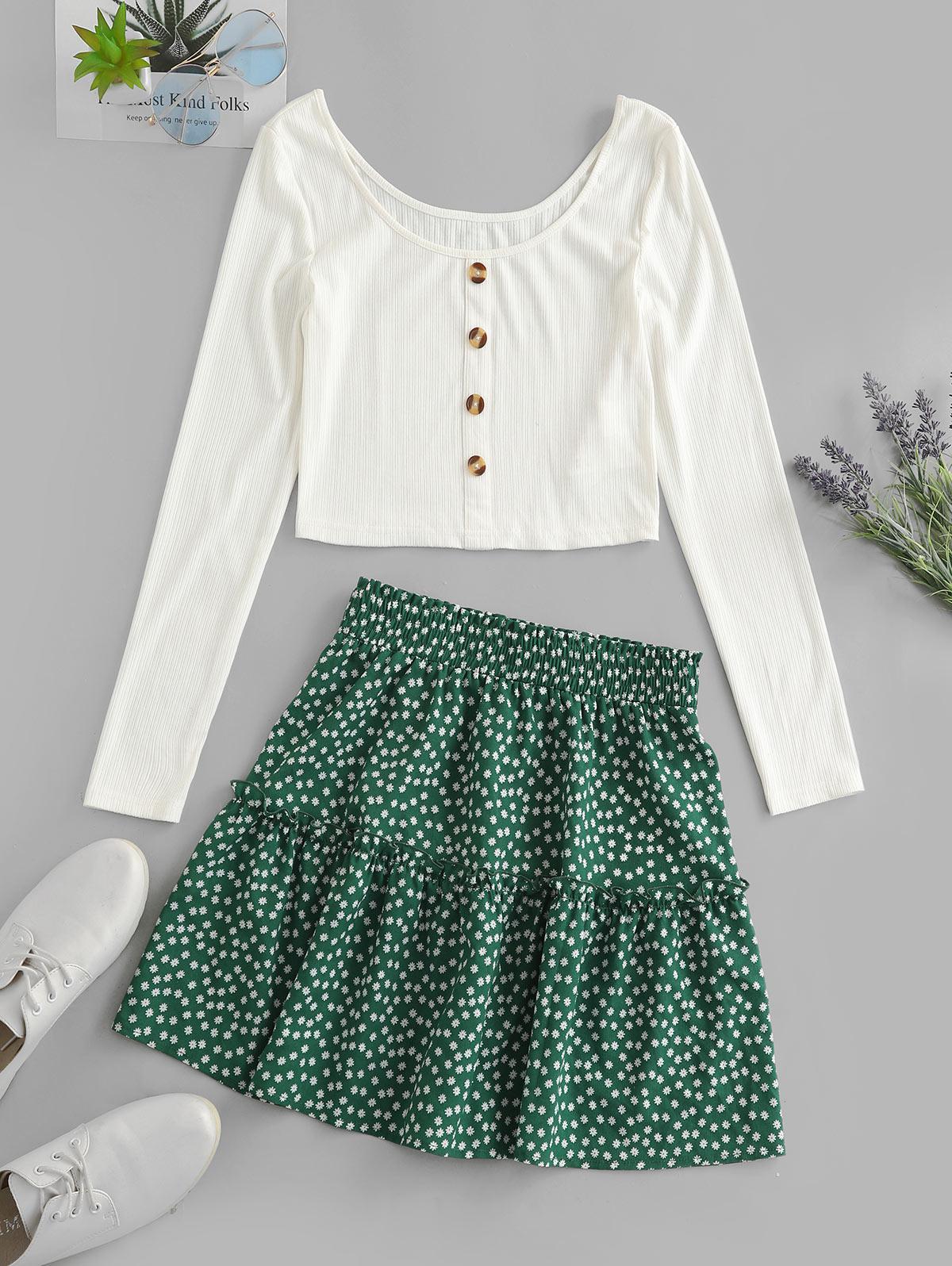 ZAFUL Ribbed Button Embellished Ditsy Print Skirt Set thumbnail