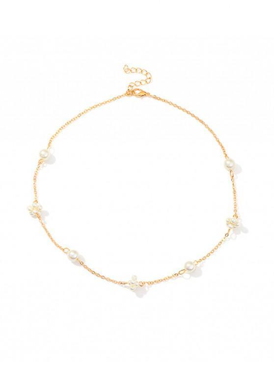 Semplice collana con catena impreziosita da perle - Oro