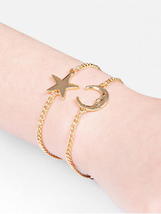 Set di bracciali a catena Two Star e Moon - Oro