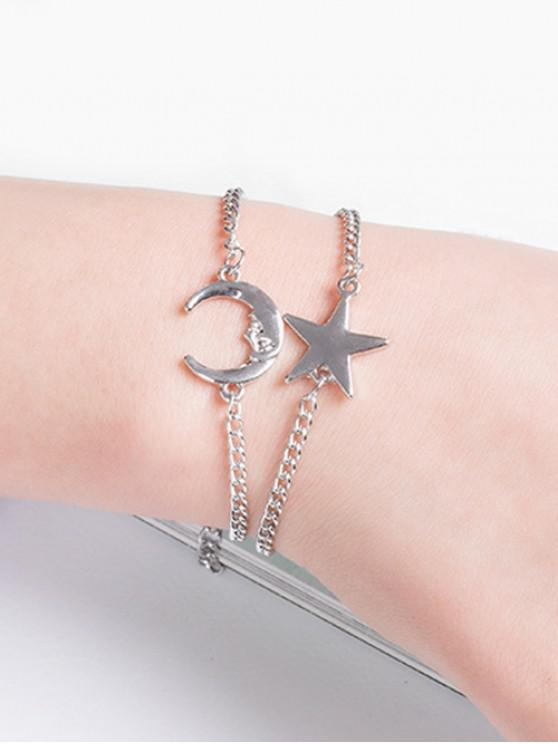 shop Two Piece Star And Moon Chain Bracelet Sets - SILVER