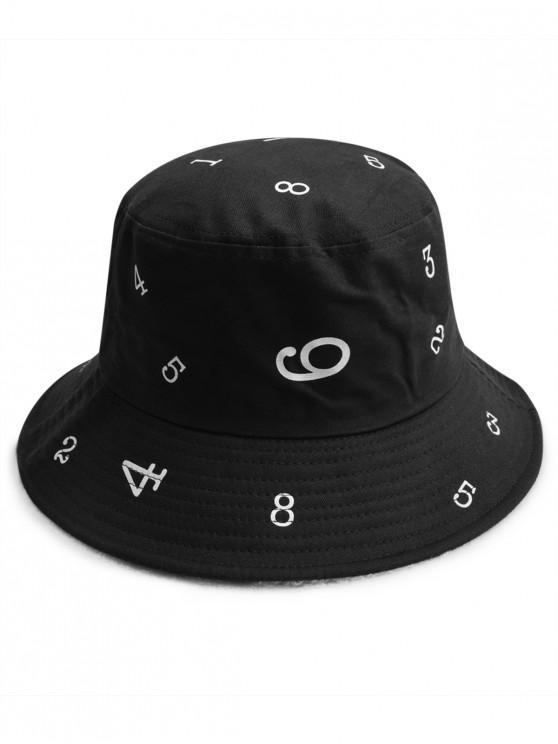 Sombrero del cubo ocasional de la impresión de la figura - Negro