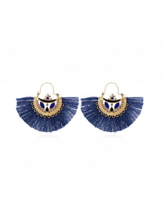Orecchini pendenti etnici a forma di ventaglio a forma di ventaglio - Blu
