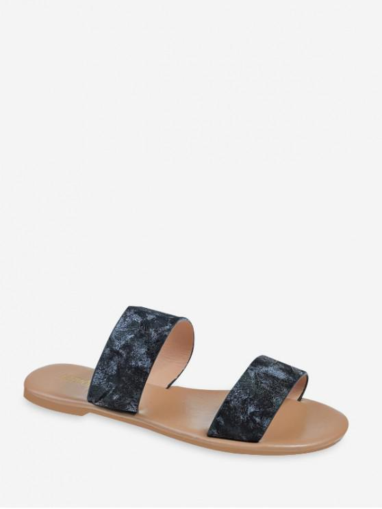 hot Marbling Pattern Two Strap Slides Sandals - BLACK EU 39
