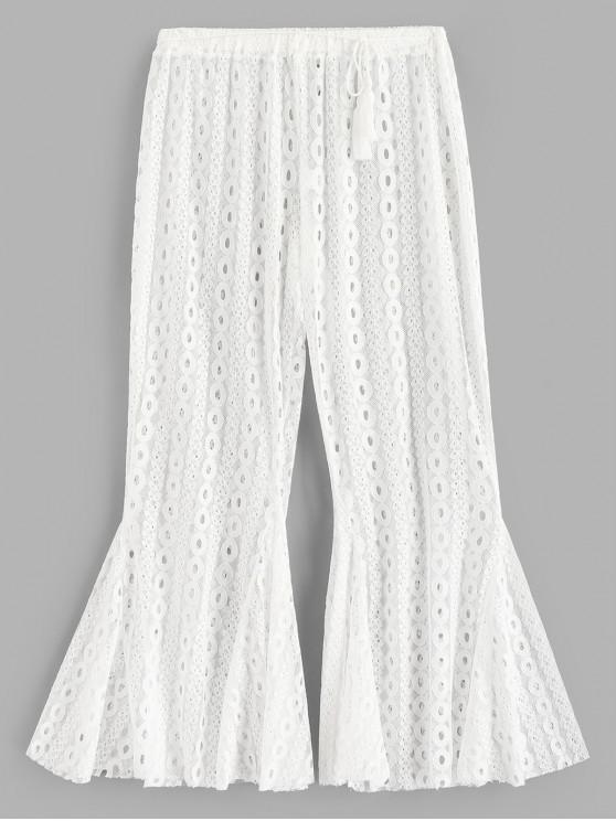 fancy Flare Bottom Sheer Lace Beach Pants - WHITE S