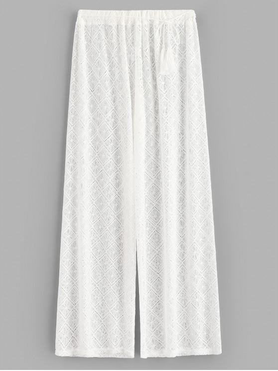 unique Sheer Lace Wide Leg Beach Pants - WHITE L