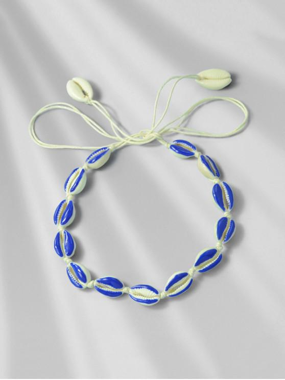 womens Beach Shell Rope Necklace - OCEAN BLUE