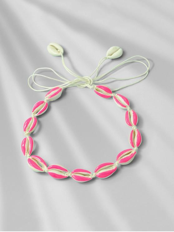 outfit Beach Shell Rope Necklace - HOT PINK