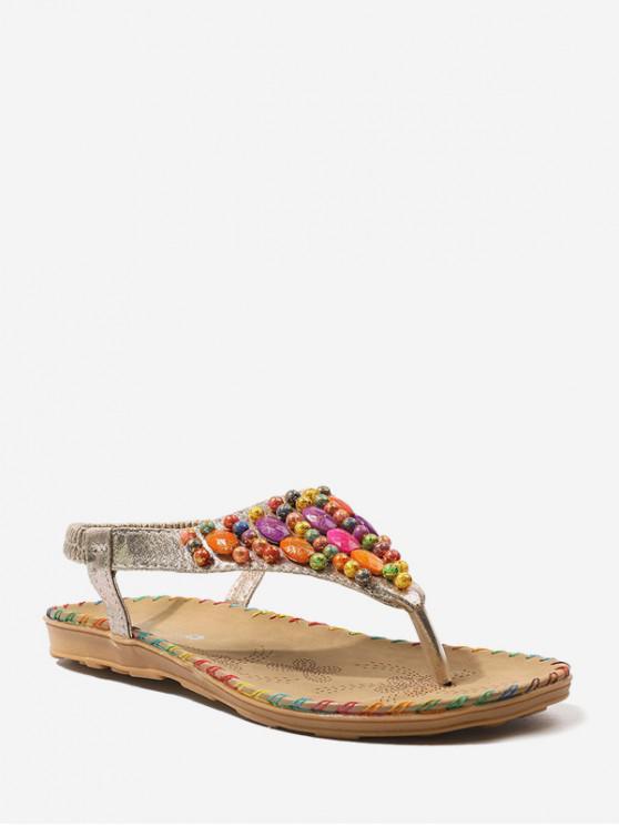 Sandales de Plage Elastiques Perlées Plates - Or EU 38