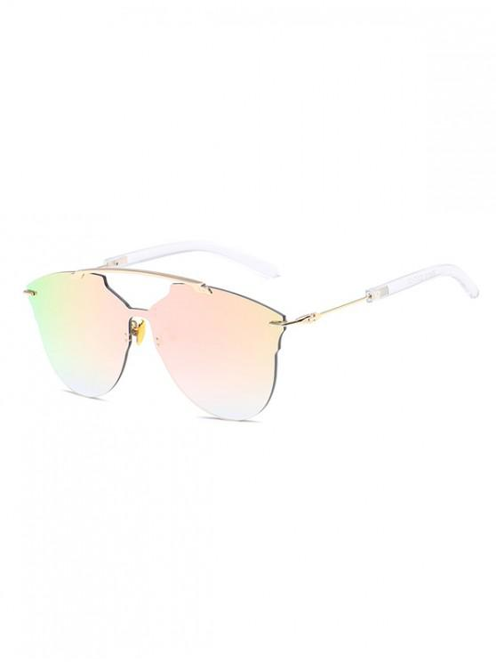 outfits One-piece Metal Oversized Rimless Sunglasses - PIG PINK
