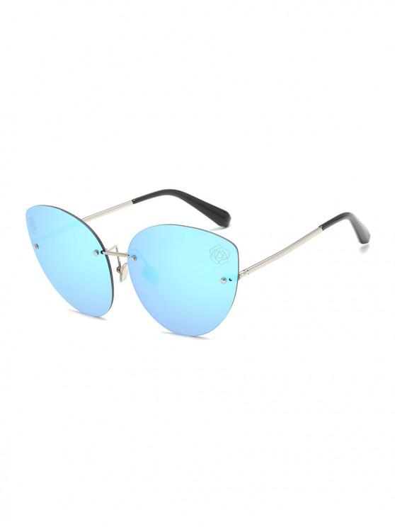 fancy Floral Metal Colored Rimless Sunglasses - DAY SKY BLUE