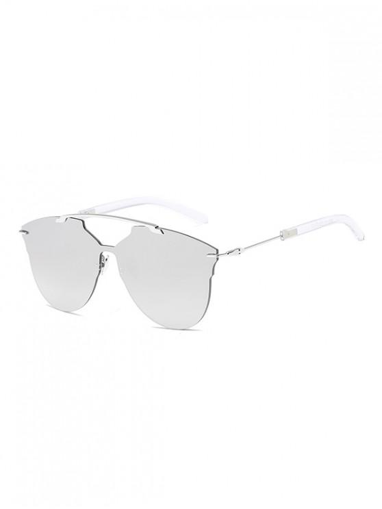womens One-piece Metal Oversized Rimless Sunglasses - PLATINUM