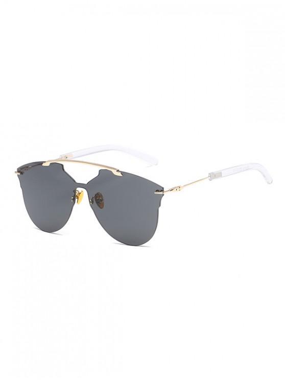 Occhiali da sole senza montatura oversize in metallo monopezzo - Nero