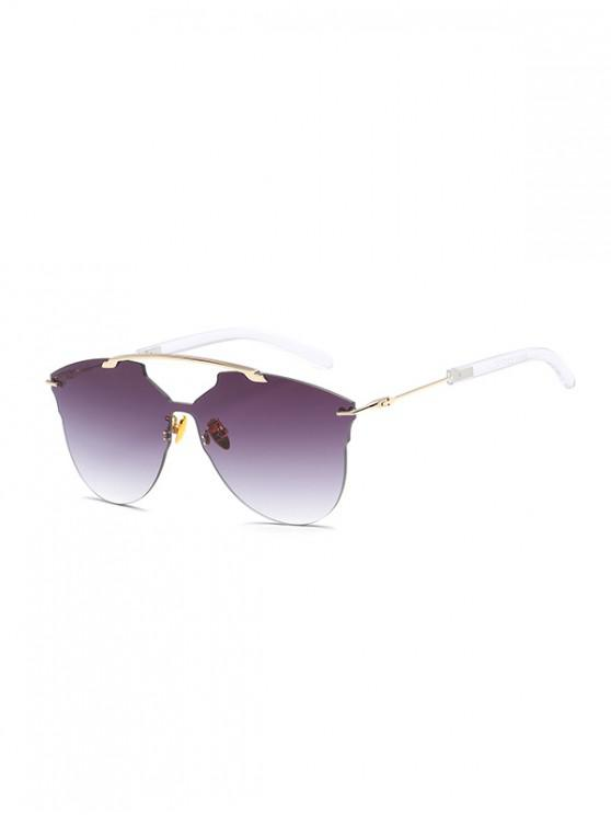 trendy One-piece Metal Oversized Rimless Sunglasses - TAUPE