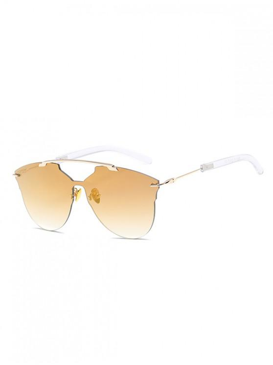 fancy One-piece Metal Oversized Rimless Sunglasses - CHAMPAGNE GOLD
