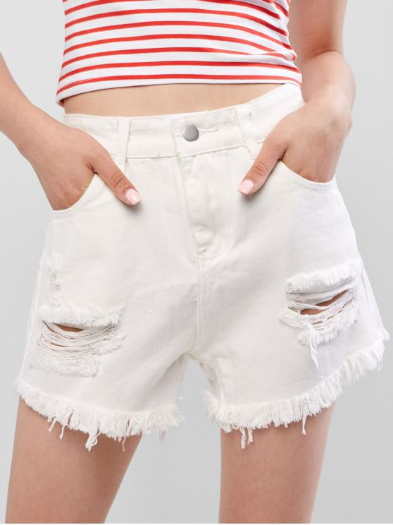 ladies Cuff Off Distressed Jean Shorts - WHITE S