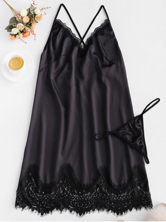 womens Scalloped Lace Trim Satin Babydoll - BLACK M