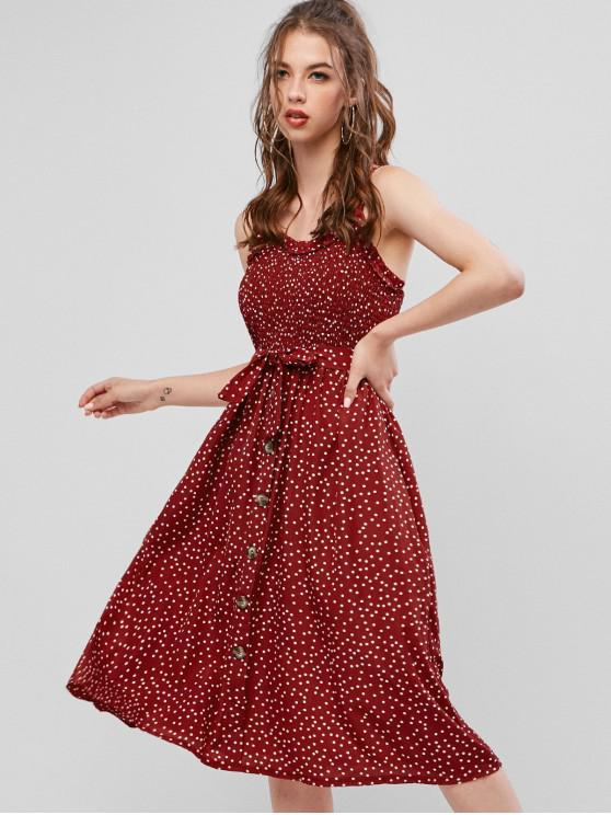 chic Belted Dots Smocked A Line Dress - RED M