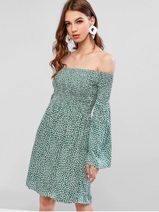 ZaFUL Smocked Ditsy Floral Fora Do Ombro Mini Vestido - Verde M
