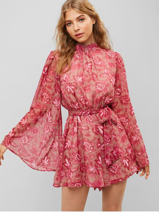 fashion Flower Print Cut Out Wide Sleeve Belted Romper - ROSE RED S