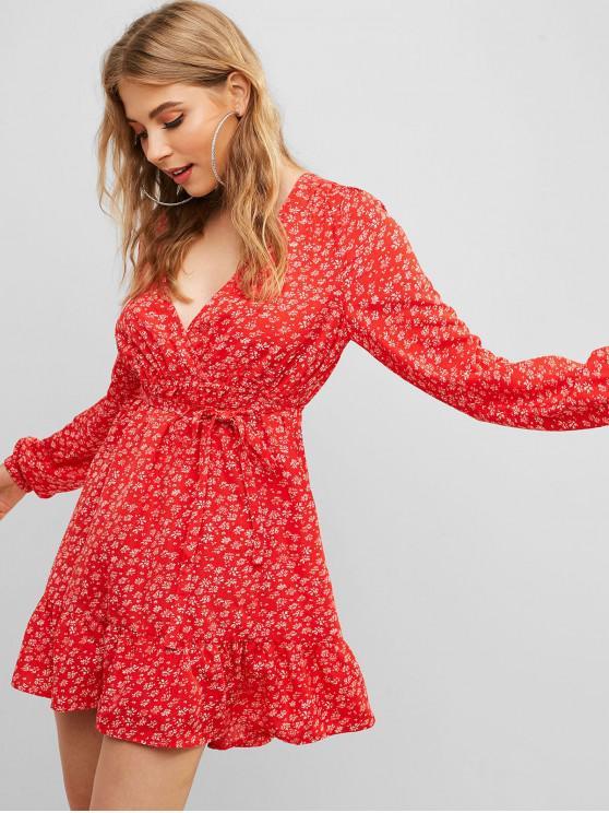 shop ZAFUL Ditsy Print Waist Tie Surplice Dress - LAVA RED M