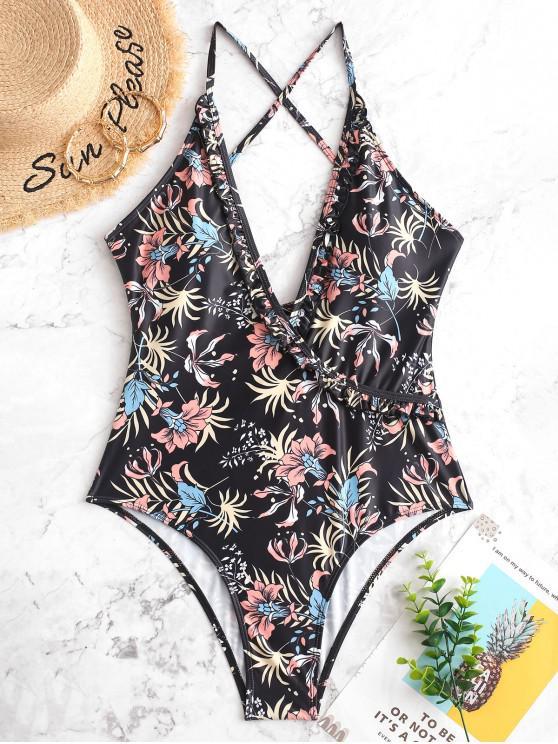 women ZAFUL Floral Ruffle Lace Up One-piece Swimsuit - BLACK XL