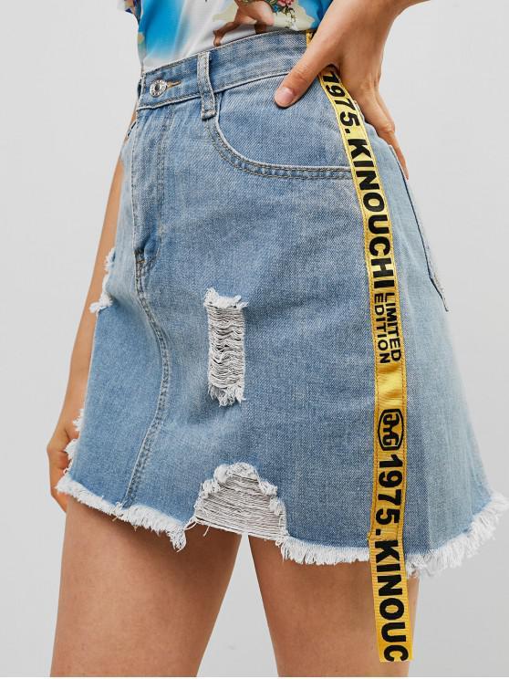 Minigonna di jeans distrutti con nastri a lettere - Blu Denim L