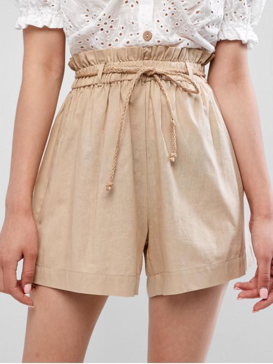 women ZAFUL Rope Belt Paperbag Shorts - SAND M