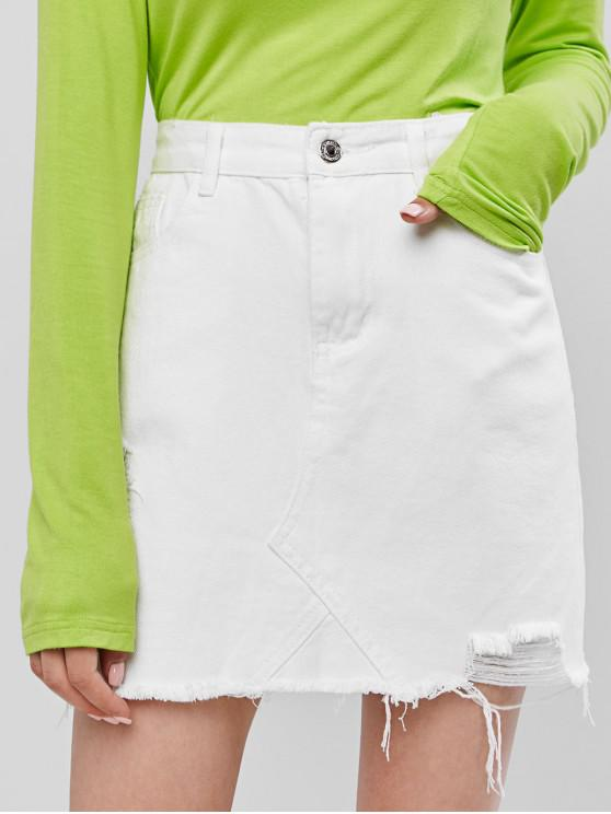 womens Ripped Frayed Hem Solid Denim Skirt - WHITE S